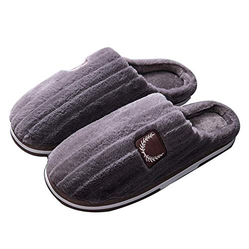 XIUYU Herren Cozy Memory Foam Slippers Pure Color Home Interior Non-Slip Cotton Herbst und Winter Baotou Non-Slip-Plüsch-Baumwolle Hausschuhe in Übergrößen (Color : Brown, Size : 50)
