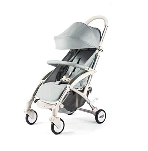 Carro de bebé- Ultra-ligero portátil Fácil paraguas plegable Coche de cuatro ruedas Amortiguador bebé Puede sentarse y mentir, puede tomar el automóvil con una mano,light grey 🔥
