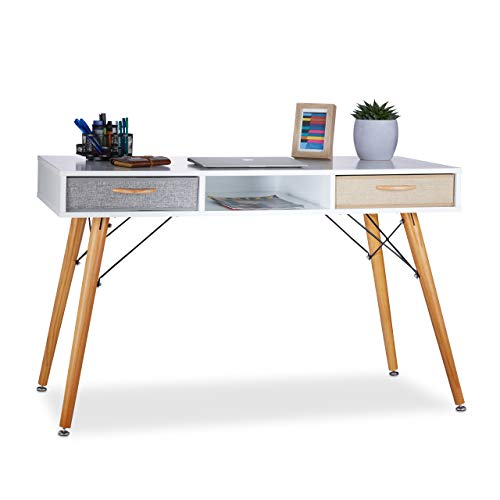 Relaxdays Bureau, Design scandinave, 3 Compartiments, 2 tiroirs, Table d'Ordinateur HxLxP env. 74x125x60 cm Bois Blanc