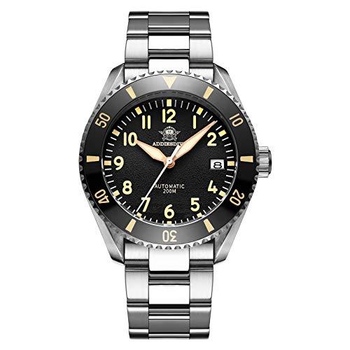 ADDIESDIVE Pilot Watch Diver 200M Quadrante Nero Strutturato Vetro Zaffiro...
