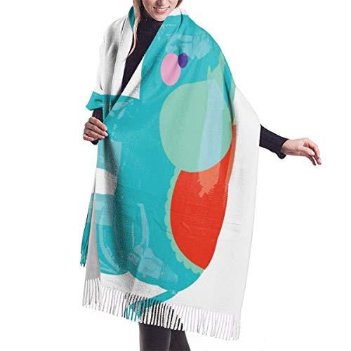 Tengyuntong Pashmina Wrap Manta Bufanda, Mujer Pashmina Bufanda, Elefante Jumbo Globos Bufandas Suave Elegante Manta Grande Caliente Invierno Chal Elegante Envoltura