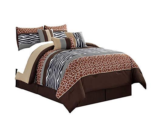 WPM 7 Piece Animal Print Comforter Set. Coffee Brown/Beige/White Zebra Giraffe Embroidered Bed in a Bag Bedding- Pancho (Queen)