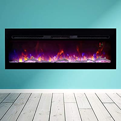 """BizHomart Doris Electric Fireplace Recessed and Wall Mounted for 2X6 Stud Log & Crystal Remote Control with Timer 1500 Watt Heater, 48"""", Black"""