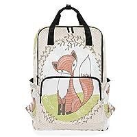 かわいいピンクの狐ショルダーバックパックおむつドクターバッグ旅行デイパック学生ブックバッグ用女性男性女の子