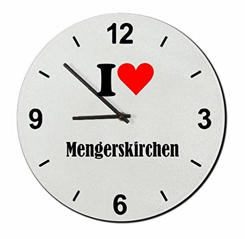 Druckerlebnis24 Glasuhr I Love Mengerskirchen eine tolle Geschenkidee die von Herzen kommt| Wanduhr| Geschenktipp: Weihnachten Jahrestag Geburtstag Lieblingsmensch