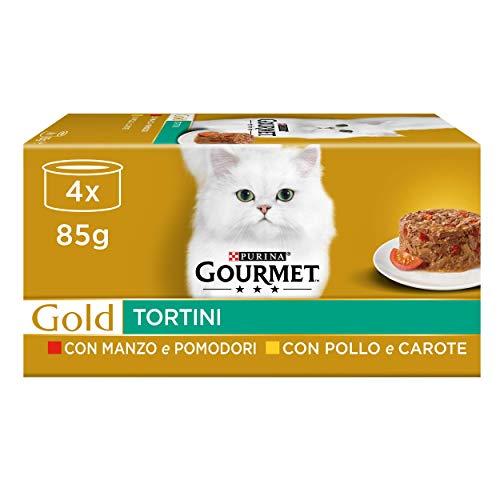 Purina Gourmet Gold - Cibo Umido per Gatti Adulti, Tortini con Pollo e Carote, con Manzo e Pomodori, 48 Lattine da 85 g Ciascuna, 12 Confezioni da 4 x 85 g