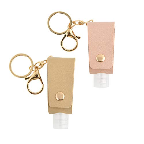 2 Pieces Hand Sanitizer Holder - Portable Travel Size Bottles with Leather Holder Keychain. Empty Refillable Squeeze Bottles Carrier for hand sanitizer, Shampoo, lotion, soap. 1oz / 30ml (Pink + Gray)