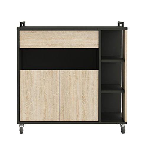 Links F00361901028 Carrello, 80 x 40 x 76,5 cm, Melamina, Rovere grezzo e nero.