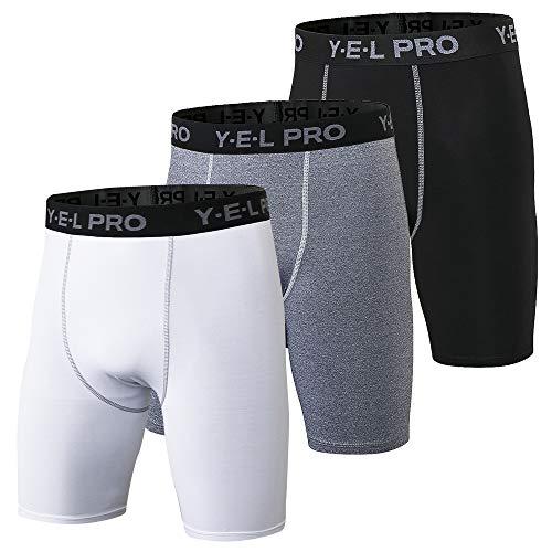 Loijon 3 Pack Men Sports Underwear Respirável Boxer Briefs Men Compression Shorts