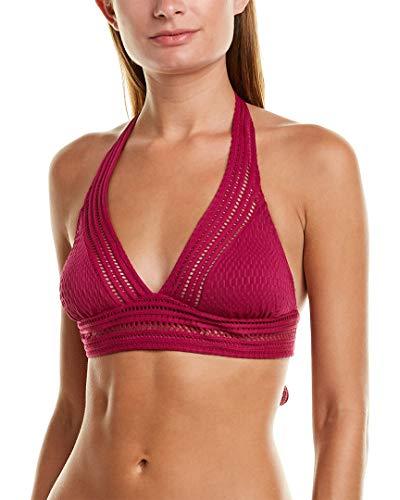 Robin Piccone Women's Perla Mixed Crochet Halter Bikini Top Orchid L