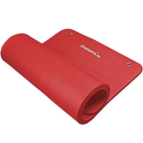 ScSPORTS® Gymnastikmatte dick & rutschfest, Yoga-Matte mit Ösen & Schultergurt, 185 cm x 80 cm x 1,5 cm, universeller Einsatz im Fitnessstudio oder zu Hause (rot)