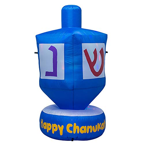 AJY 6 Feet Giant Hanukkah Dreidel Inflatable Blow Up Indoor Outdoor Yard Lawn Decoration