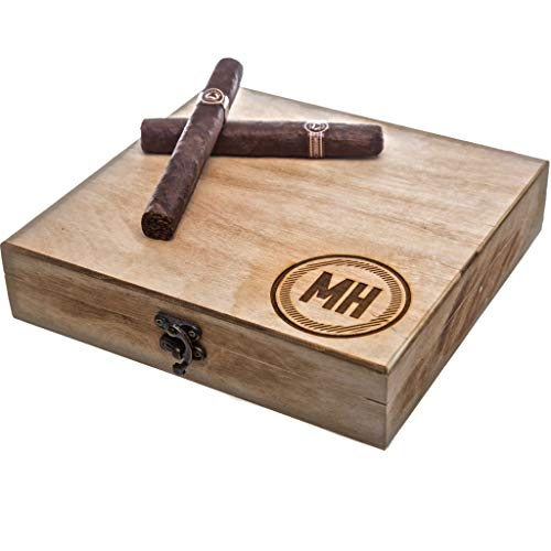 Swanky Badger Personalized Cigar Box – Wooden Cigar Holder Groomsmen Gift – Includes Custom Laser Engraving – 9 x 8.5 x 2 Inches, Circle