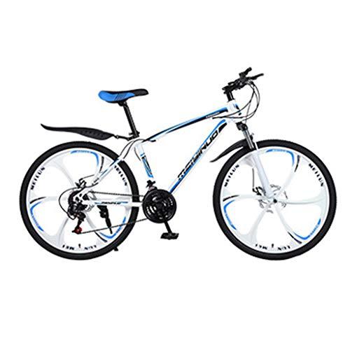 Mountainbike MTB, 26 Zoll Fette Reifen Fahrrad, Fahrrad mit Scheibenbremsen, Rahmen aus Kohlenstoffstahl, MTB Fahrrad für Herren und Damen,21 Speed,Black 6 Spoke