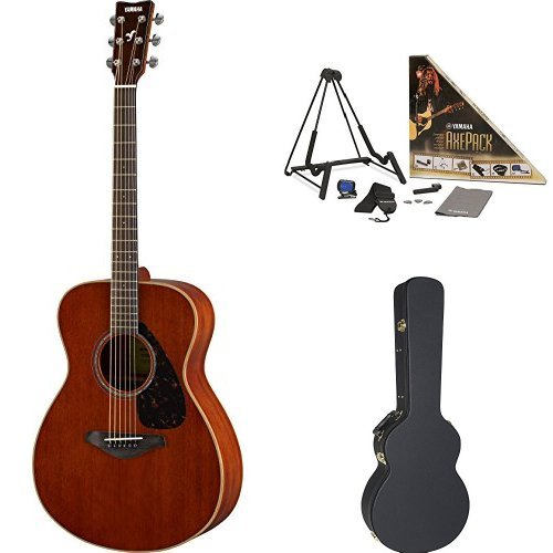 Yamaha FS850 Small Body Acoustic Guitar, Mahogany, with Yamaha Concert-Size Guitar Case and Accessory Pack