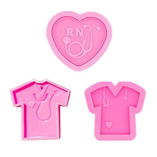 Geneic 3 unids/set de moldes de resina epoxi de cristal enfermera camisa amor corazón estetoscopio llavero colgante de fundición de silicona molde DIY manualidades llavero joyería hacer herramientas