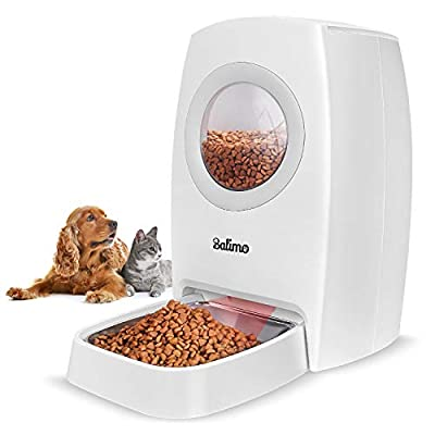 Balimo 6L Automatic Cat Feeder,Auto Pet Feeder Timed Dog Food Dispenser for Cats, Dogs,Infrared Detection Tech,Two Modes,LCD Display,Portion Control,Voice Recorder,Programmable Timer (White)