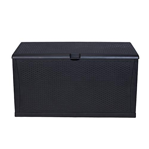 KOOLWOOM Deck Box, 120-Gallon Patio Outdoor Plastic Storage 47.2' L x 24.01' W x 24.80' H Waterproof Black