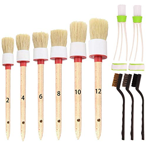 SUBANG 11 Pieces Car Detailing Brush Set for Cleaning Wheels,Interior,Exterior,Leather, Includes 6 Pcs Wooden Handle Boar Hair Automotive Detail Brush,3 Pcs Wire Brush and 2 Pcs Air Conditioner Brush