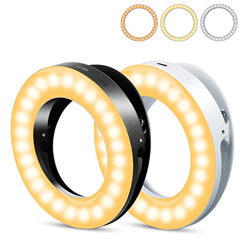 Selfie Light for iPhone & Android, LETBEFUNA Portable Clip on Ring Selfie Light Flash with 40 Rechargeable LED & 3 Lighting Modes for Phone Laptop iPad Photography Camera Video Girls Makeup(2Pcs)