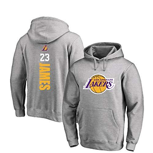 ZZCC James Laker - Sudadera de baloncesto para hombre, con capucha #23, transpirable, para invierno, para baloncesto, casual, manga larga, color gris 2- XXL