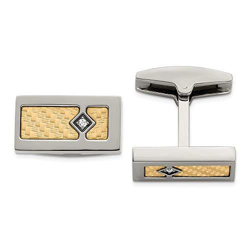 Solid Stainless Steel Men's 18k Textured Diamond Cufflinks (.03 cttw.)