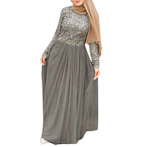 Damen Abendkleid Abaya Dubai Muslimische Kleid Kleidung Kleider Arab Hochzeit Arabisch Indien Türkisch Knöchellang Kleid Robe Glitzer Große Größen Tüll URIBAKY