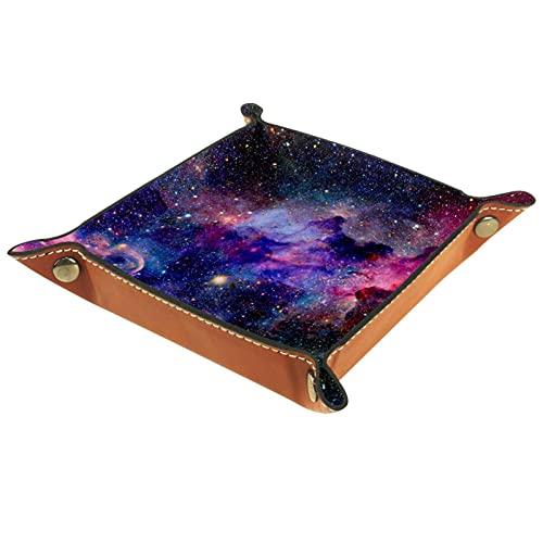 YATELI Caja de Almacenamiento pequeña, Bandeja de Valet para Hombre,Starry Sky Dreamy Colorful Fantasy Universe,Organizador de Cuero para Llaves de Caja de Monedas