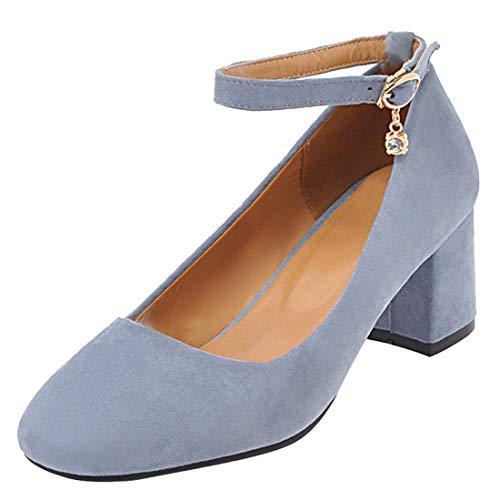 Artfaerie Damen Chunky Heels Pumps mit Blockabsatz und Riemchen 5cm Absatz Kleid Schuhe (EU 40,Blau)