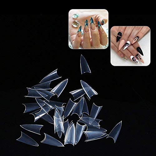 Fake Nail, 500 Stilettos Sharp False Nail Art Tips Salon Manicure Decoration (Transparent) transparent (01)