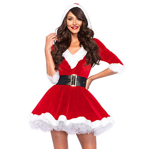 Costume da Babbo Natale da donna in 2 pezzi, costume da Babbo Natale con cappuccio in velluto, costume da Babbo Natale con cintura