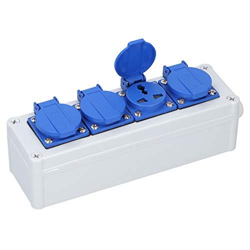 Caja de enchufes eléctricos para exteriores, tomacorrientes con cubierta impermeable, regleta de...