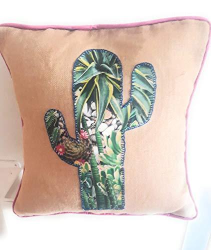 Funda de Cojín Decoración Cactus. Medida 45/45 cm. Hecho a Mano Idea Regalo Ella Regalo el Jardin Sofa Hogar Cama Salon