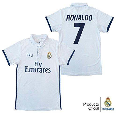REAL MADRID- Camiseta 1ª Equipación Adulto 2016-2017, Réplica Oficial Cristiano Ronaldo- Talla M