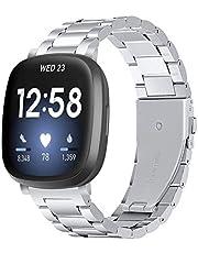 Tencloud Bandjes, compatibel met Fitbit Versa 3-riem, metalen roestvrijstalen polsband voor dames en heren voor Fitbit Sense/Versa 3 smartwatch