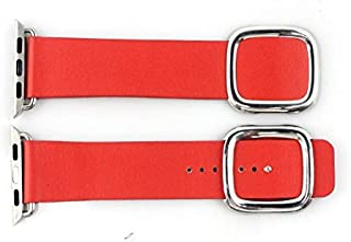 Genuine Leather Band Strap with Ozone Screen Protector for Apple Watch 38mm - Red