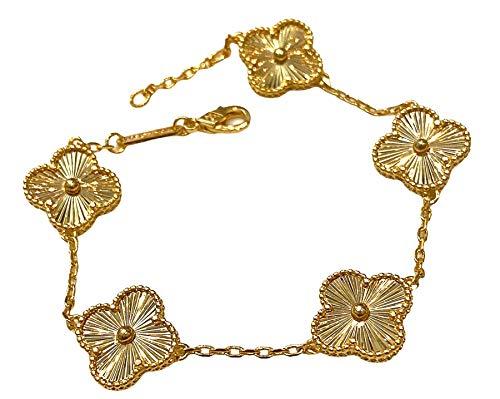 Pulsera moderna con diseño de trébol de flores, circonita cúbica, 5 diseños, color dorado, nuevo diseño NWT