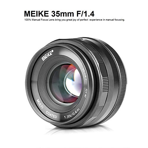 MEKE MK-35mm F/1.4 Manual Focus Large Aperture Lens Compatible with Fujifilm Mirrorless Camera Such as X-T1 X-T2