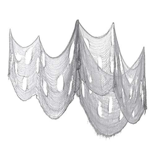 Garneck - Tela aterradora de Halloween, tejido aterrador con armadura suelta aterradora para decoración de Halloween – 3 unidades / blanco (gris)