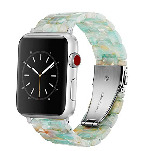 Omter Band Replacement for Apple Watch 40mm 38mm Women Men Fashion Resin Band Bracelet Compatible with iWatch Series 5/4,Series 3/2 /1(Green 40mm 38mm)
