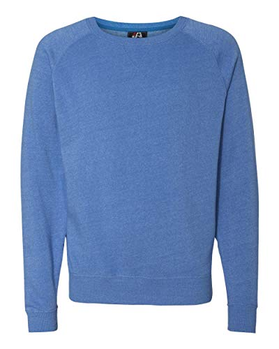 J America J8875 Adult Tri-Blend Fleece Crew - Cool Royal Triblend44; Small