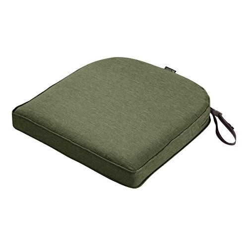 Classic Accessories Montlake Water-Resistant 18 x 18 x 2 Inch Contoured Patio Dining Seat Cushion, Heather Fern Green