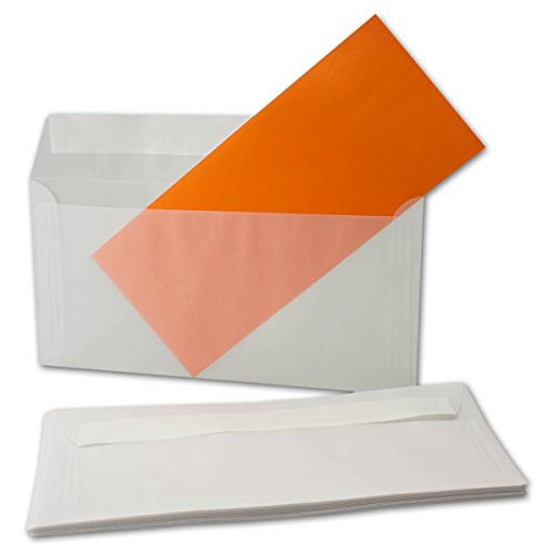 Transparante DIN lange enveloppen, 92 g/m2, lijm of natte lijmen - merk Gustav Neuser 100 Stk // Haftklebung