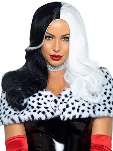 Leg Avenue Women's Two Tone Wig, Black/White, One Size