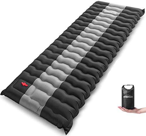 Overmont Splicable Esterilla Inflable Portatíl Colchón 12cm Extra Grueso para Camping Acampa Colchones Hinchable Utraligero y Resistente al Aire Libre Viaje Playa,Negro