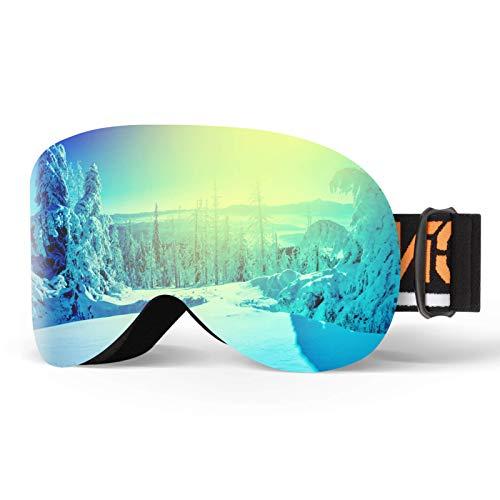 Gafas de esquí magnéticas con lente de doble capa anti niebla OTG snowboard claro gafas de nieve UV400 casco de protección compatible con gafas de esquí para hombres, mujeres, jóvenes, adultos