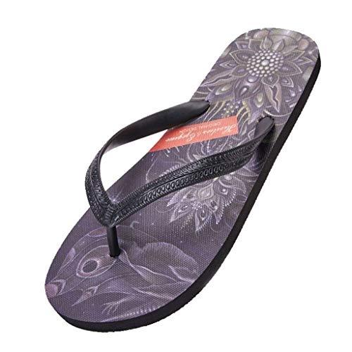 WXFF Sommer Herrenmode Flip Flops Handgemalte Trend Flache Strand Schuhe Rutschfeste Totem Pin-Toe Sandalen Und Hausschuhe (Color : Purple, Size : 40)