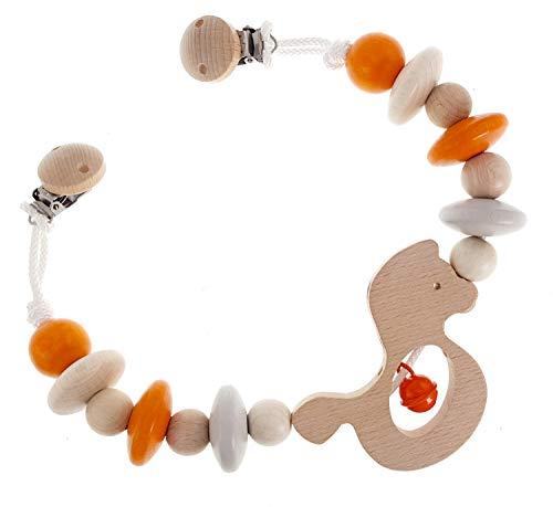 Hess Spielzeug Chaînette pour poussette en bois, chev. naturel /orange