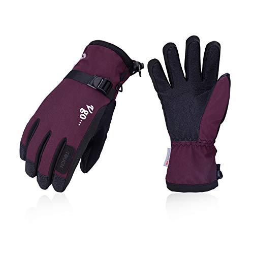Vgo... Damen Winter-Handschuhe, 3M, Thinsulate G80, gefüttert, für Eisklettern, Skifahren, Snowboarden, 1 Paar, Violett, PVC2460FW, Damen, violett, Medium