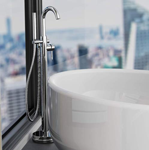 Schütte CORNWALL freistehende Badewannenarmatur, Wannenarmatur für die Badewanne mit Handbrause und Schlauch, Wasserhahn für die Wanne, Freistehende Badewanne Armatur in Chrom chromfarben